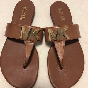 Michael Kors Brown & Gold Sandals